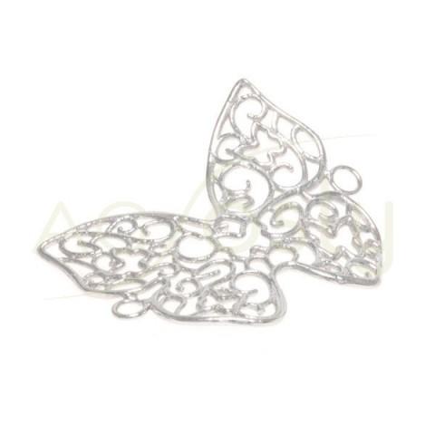 Pieza de montaje rodiada, mariposa calada con dos anillas.33mm