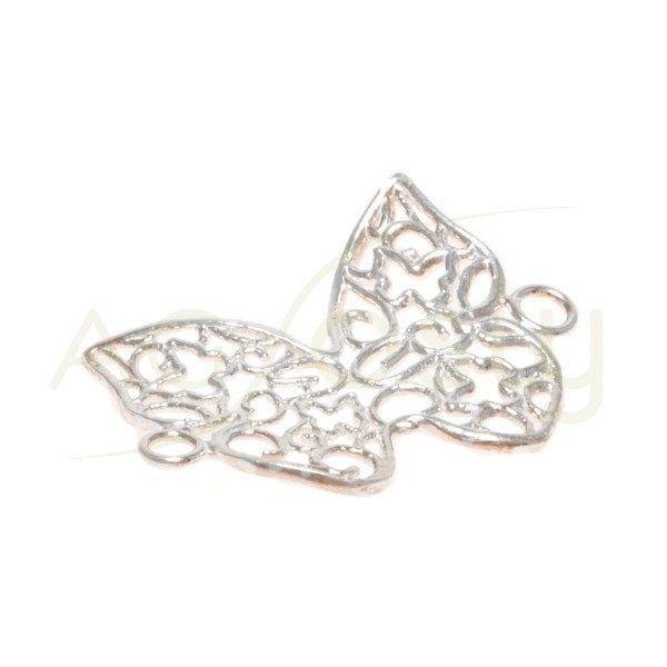 Pieza de montaje rodiada, mariposa calada con dos anillas.24mm