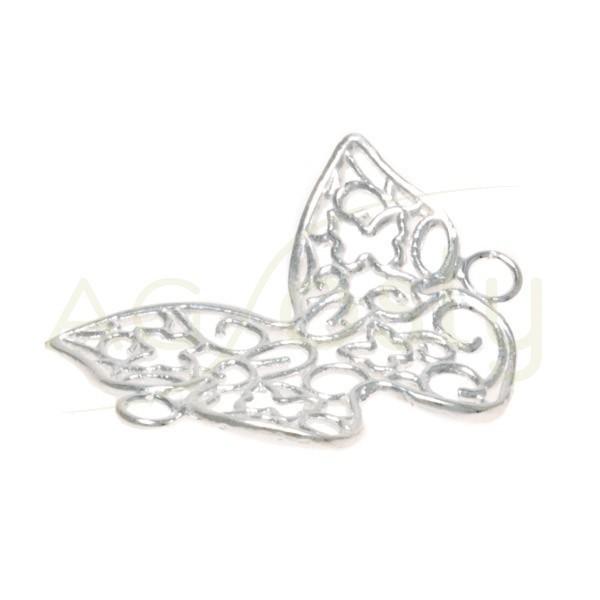 Pieza de montaje mariposa calada con dos anillas.24mm