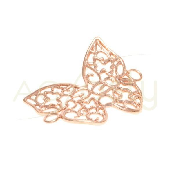 Entrepieza plata rosa, mariposa calada con dos anillas 24mm