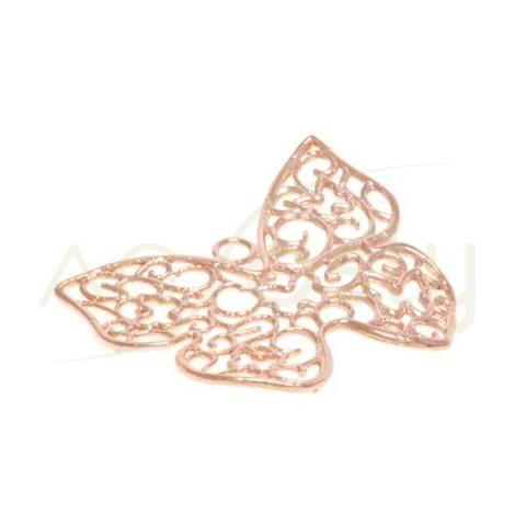 Pieza de montaje de plata rosa, mariposa calada 33mm