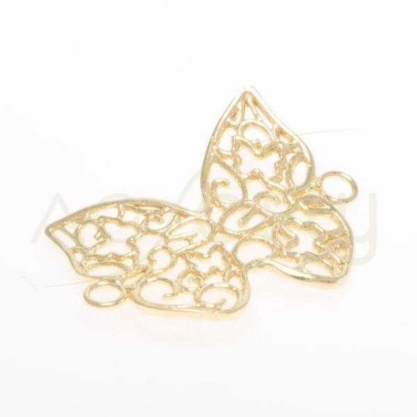 Pieza de montaje en plata chapada, mariposa calada con dos anillas.25mm