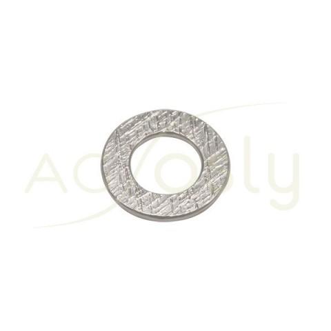 Pieza de montaje en plata rodiada, modelo disco plano con textura.18,60mm