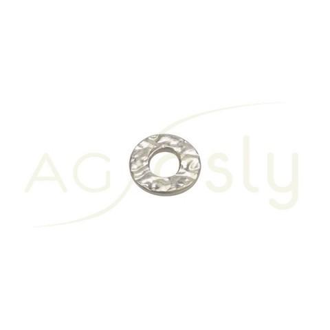 Pieza de montaje en plata rodiada, modelo disco plano con textura.10,10mm