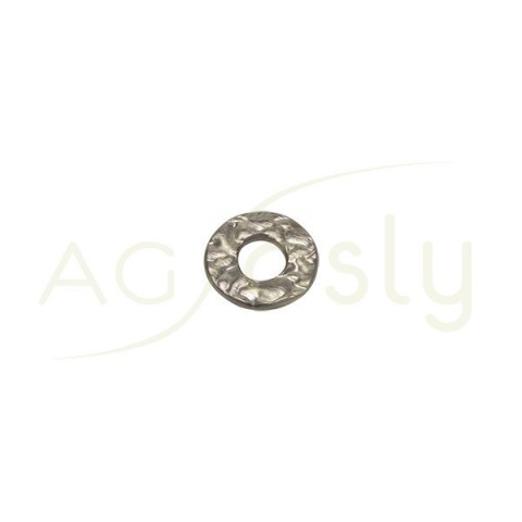 Pieza de montaje en plata con baño de rutenio, modelo disco plano con textura.10,10mm
