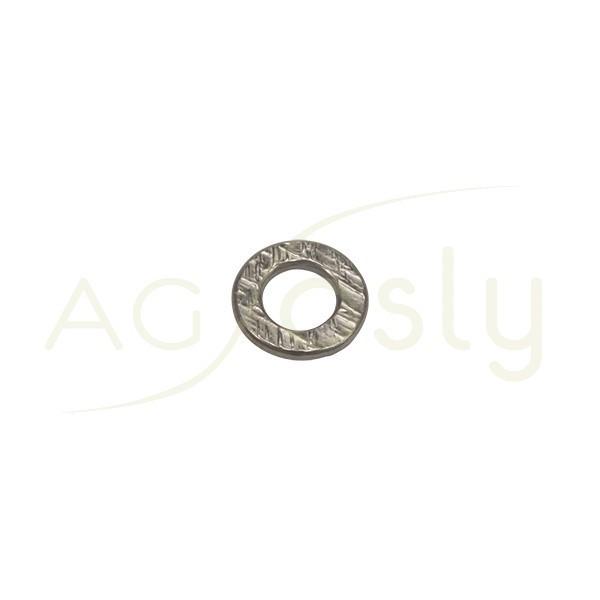 Pieza de montaje en plata con baño de rutenio, modelo disco plano con textura.10,70mm