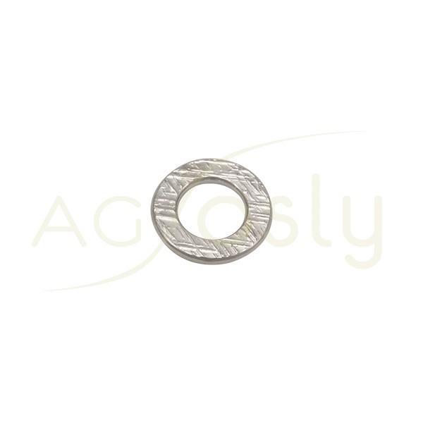 Pieza de montaje en plata rodiado, modelo disco plano con textura.13,60mm