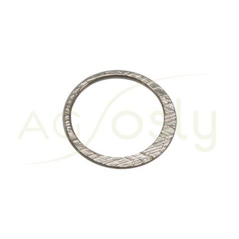 Pieza de montaje en plata con baño de rutenio, modelo ovalado con textura.22,60mm