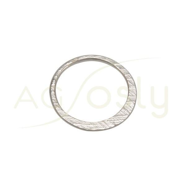 Pieza de montaje en plata rodiada, modelo disco plano con textura.22,5mm