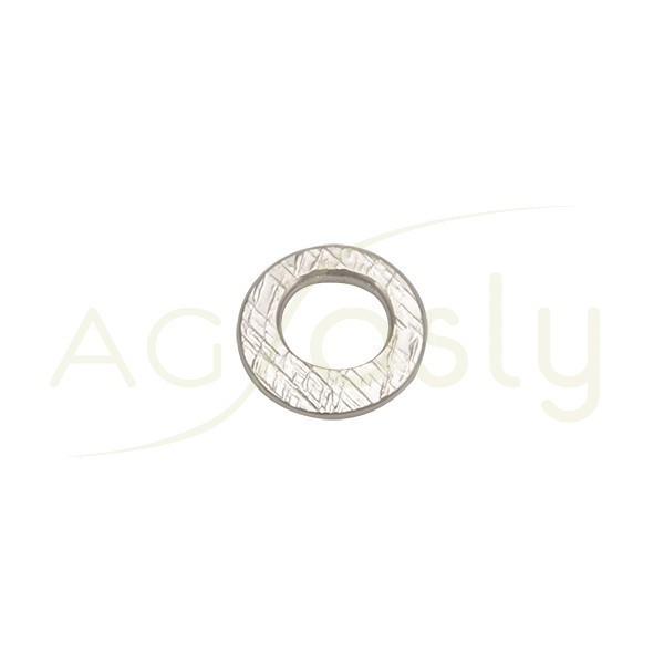 Pieza de montaje en plata con baño de rutenio, modelo disco plano con textura.14mm