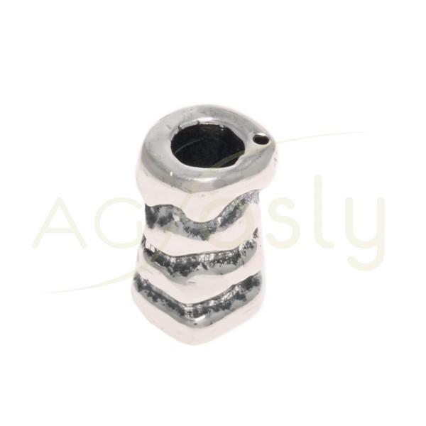 Entrepieza cilindro labrado con textura.19mm Int.5mm