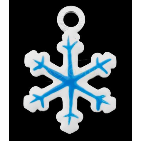 Pieza de montaje esmalte, copo de nieve color azul.14mm