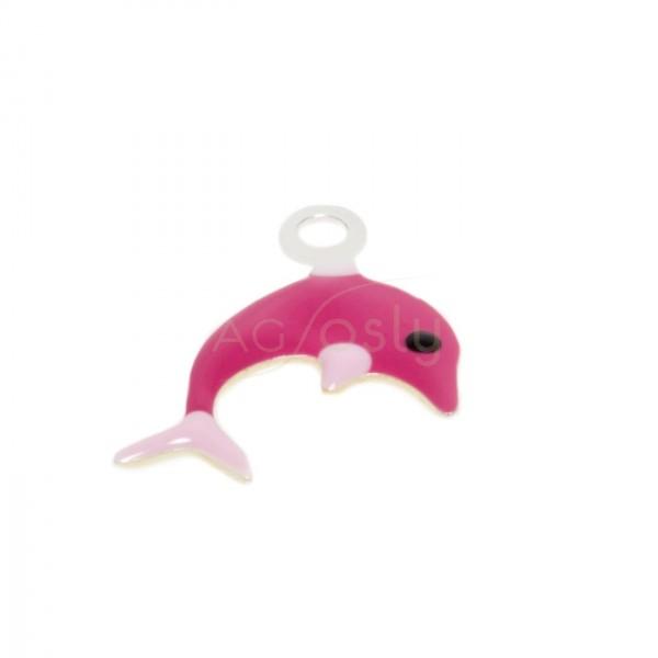Pieza de montaje esmalte, delfín color fucsia.16mm