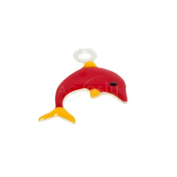 Pieza de montaje esmalte, delfín color rojo.16mm