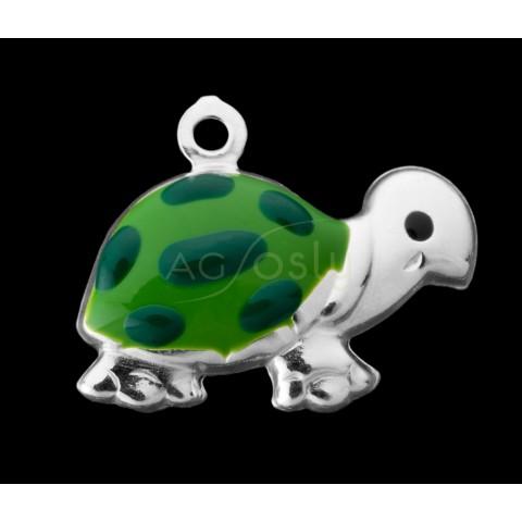 Pieza de montaje esmalte colgante tortuga verde.12mm
