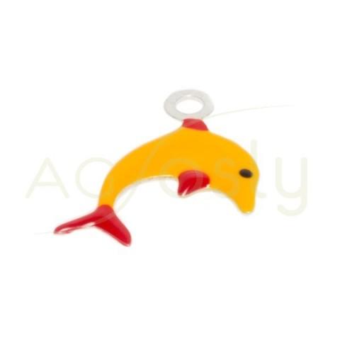Pieza de montaje esmalte colgante delfin naranja.12mm