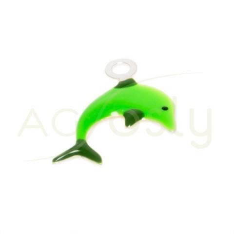 Pieza de montaje esmalte, delfín color verde.12mm