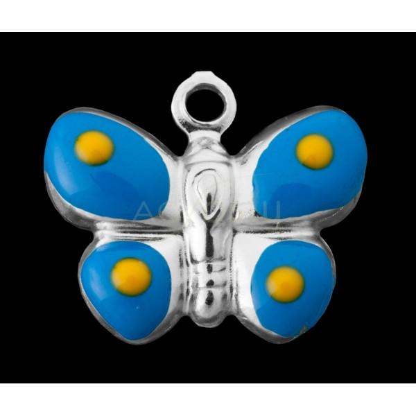 Pieza de montaje esmalte colgante rodiado mariposa azul y mostaza.15mm