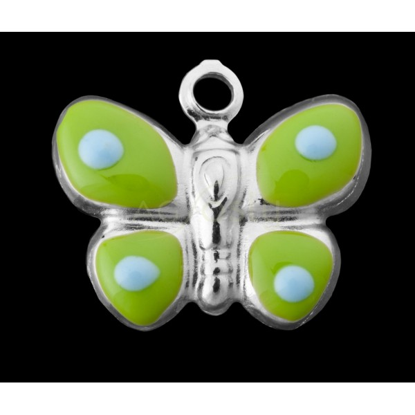 Pieza de montaje esmalte colgante rodiado mariposa verde y azul claro.15mm