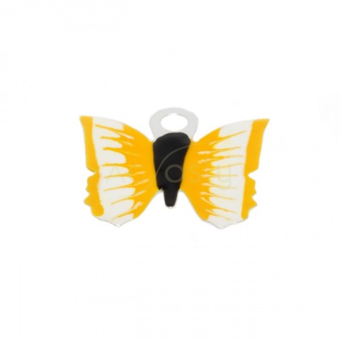 Pieza de montaje esmalte, mariposa color amarillo.12mm