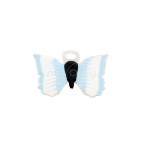 Pieza de montaje esmalte, mariposa color azul claro.12mm