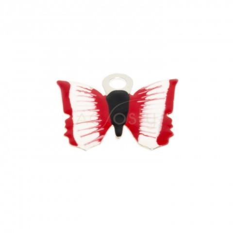 Pieza de montaje esmalte, mariposa color rojo.12mm