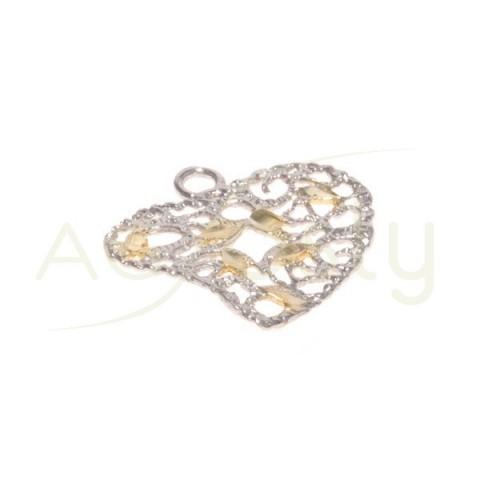 Pieza de montaje rodiada, corazón con motivos chapados, una anilla.15mm