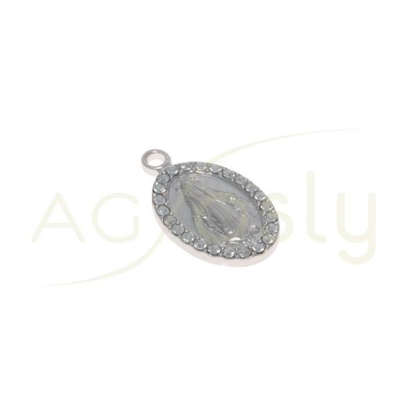 Pieza de montaje modelo medalla oval de la virgen de la Milagrosa con SWA.18x10mm