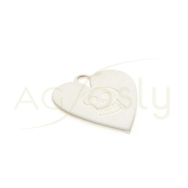 Pieza de montaje modelo corazón con calavera. 16x14mm