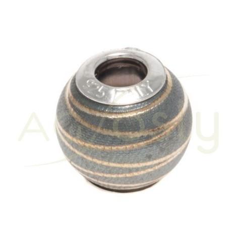 Bola plata con baño y dibujo.12mm Int.4mm