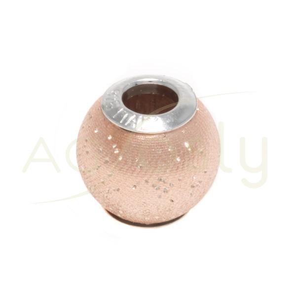 Bola plata chapado rosa con dibujo.12mm Int.4mm