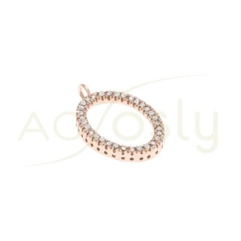 Pieza de montaje en plata chapado en rosa, modelo oval con circonitas.23mm