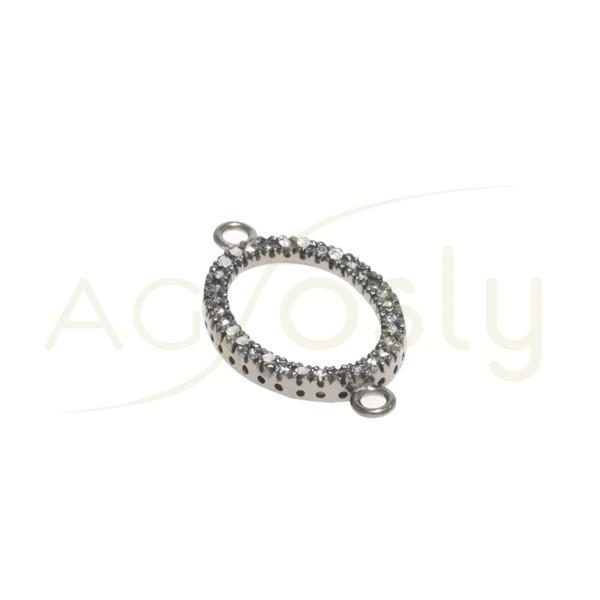 Pieza de montaje en plata con baño de rutenio, modelo oval con circonitas y dos anillas.26mm