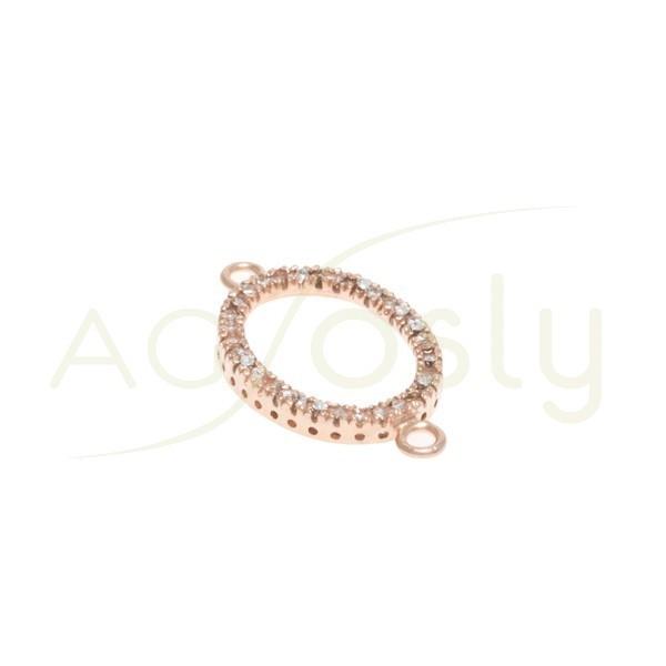 Pieza de montaje en plata chapado en rosa, modelo oval con circonitas y dos anillas.26mm
