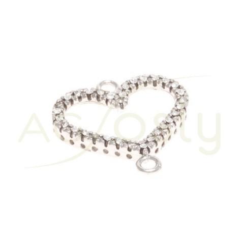 Pieza de montaje plata con rodiada, modelo corazón con circonitas y dos anillas.17mm