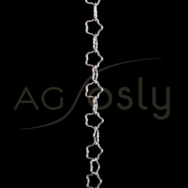 Cadena plata con anillas modelo estrellas.(50cm sin montar)
