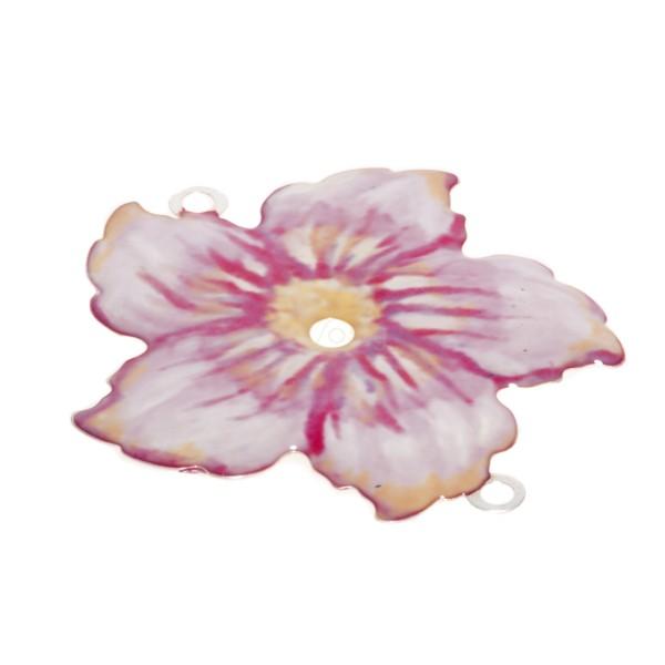 Pieza de montaje esmalte modelo flor rosa con dos anillas.34mm