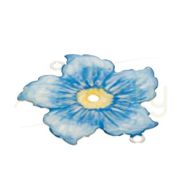 Pieza de montaje esmalte modelo flor azul con dos anillas.34mm