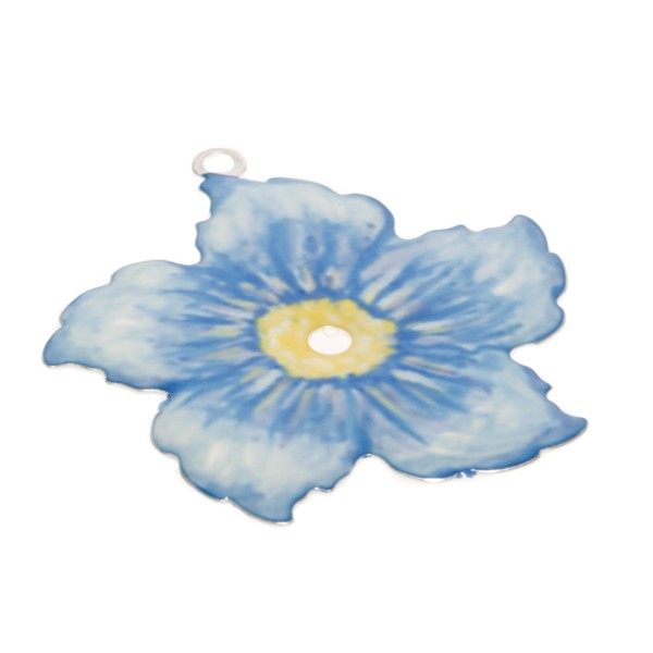 Pieza de montaje esmalte modelo flor azul.34mm