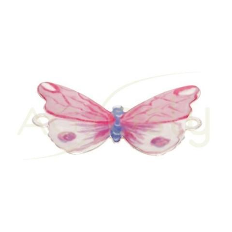 Pieza de montaje esmalte modelo mariposa rosa con dos anillas.28mm