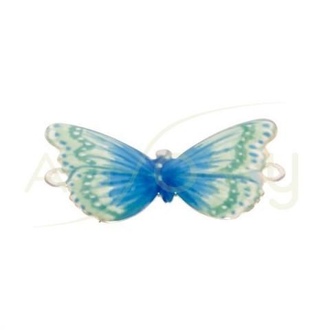 Pieza de montaje esmalte modelo mariposa verde/azul con dos anillas.28mm