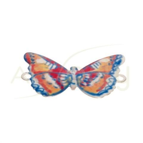 Pieza de montaje esmalte modelo mariposa multicolor con dos anillas.28mm