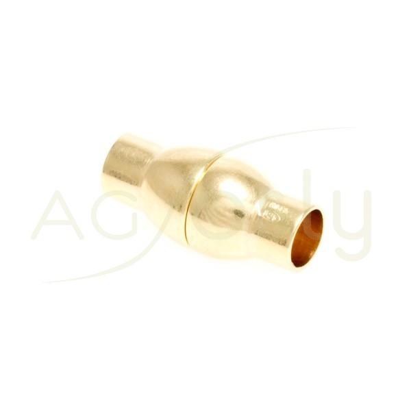 Cierre imán chapado en Oro Rosa para cordón de 5mm de diámetro y 18mm de longitud