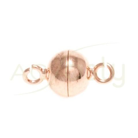 Cierre iman chapada en rosa con terminación en anilla. 8mm