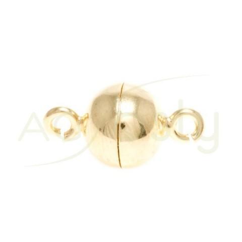 Cierre iman bola chapado con anillas.10mm