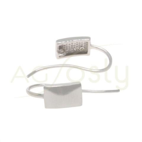 Gancho pendiente cuadrado plano rodiado con anilla.7mm