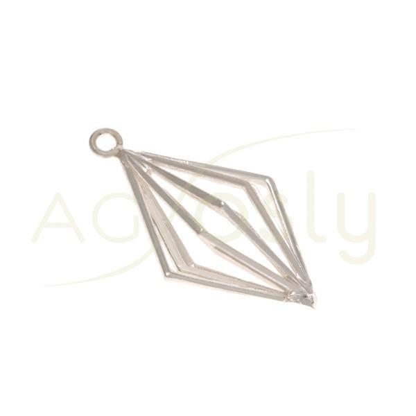 Pieza de montaje rombo hilo con dos anillas.36mm