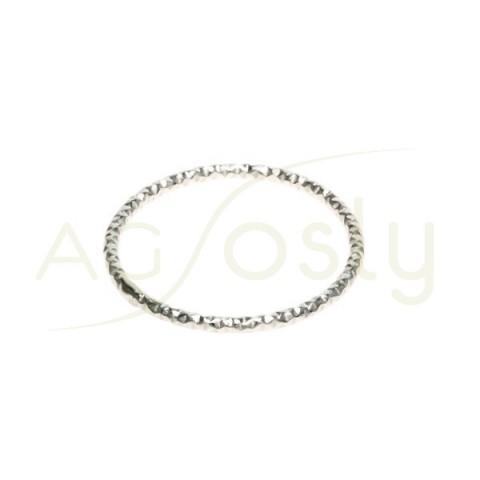 Anilla soldada diamantada con sección redonda. 20mm hilo de 1,5mm