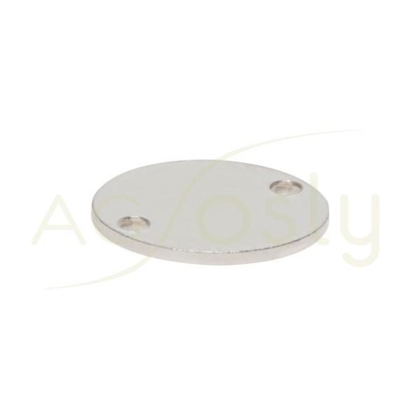 Chapa contraste rodiada redonda para dos anillas.10mm