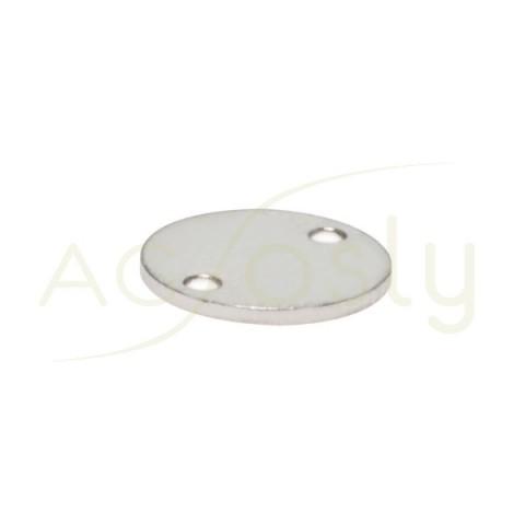Chapa contraste rodiada redonda para dos anillas.8mm